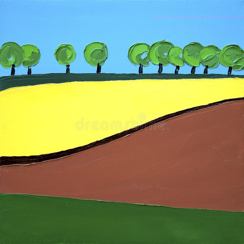 As árvores do prado do amarelo do campo da colza e do céu azul ajardinam - o sumário do minimalismo da pintura a óleo imagens de stock royalty free