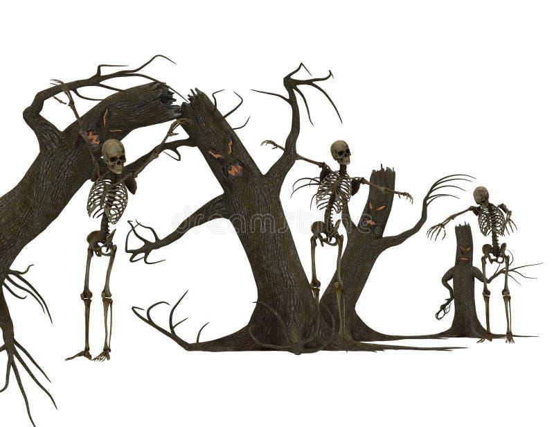 As árvores e os esqueletos são assustadores ilustração royalty free