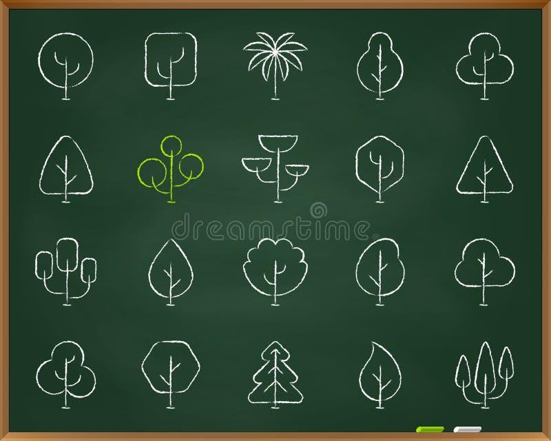 As árvores geométricas riscam a linha grupo da tração do vetor dos ícones ilustração do vetor