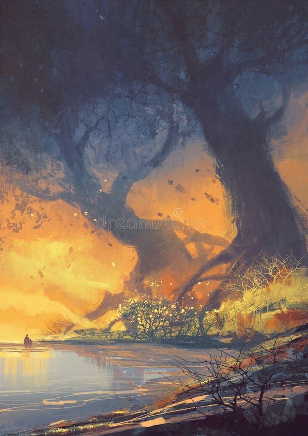 As árvores grandes com raizes enormes no por do sol encalham ilustração royalty free