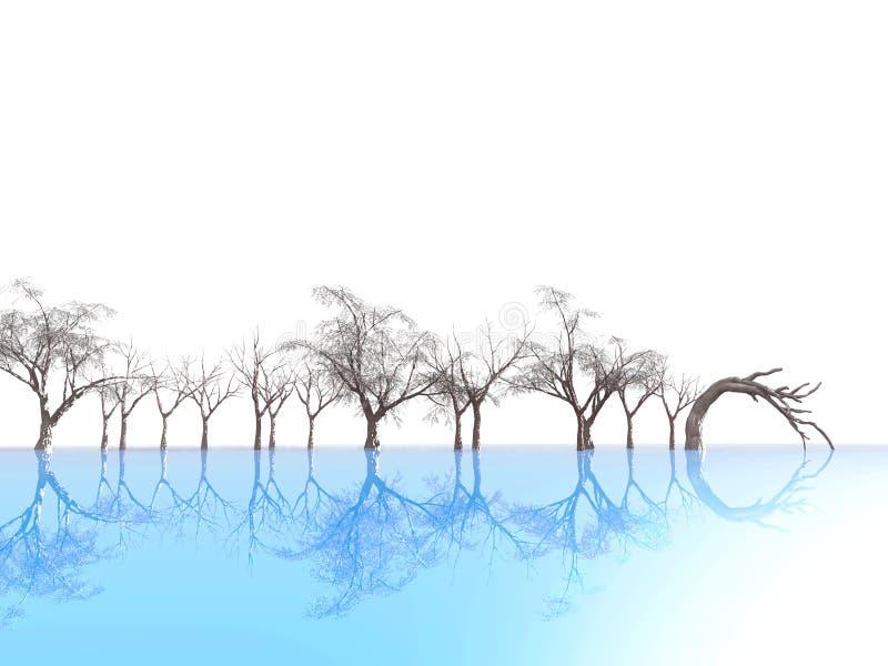 As árvores refletiram no gelo azul ilustração do vetor