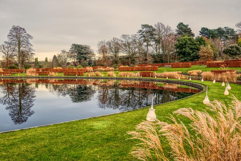 As árvores refletiram no lago em Wisley, Surrey foto de stock