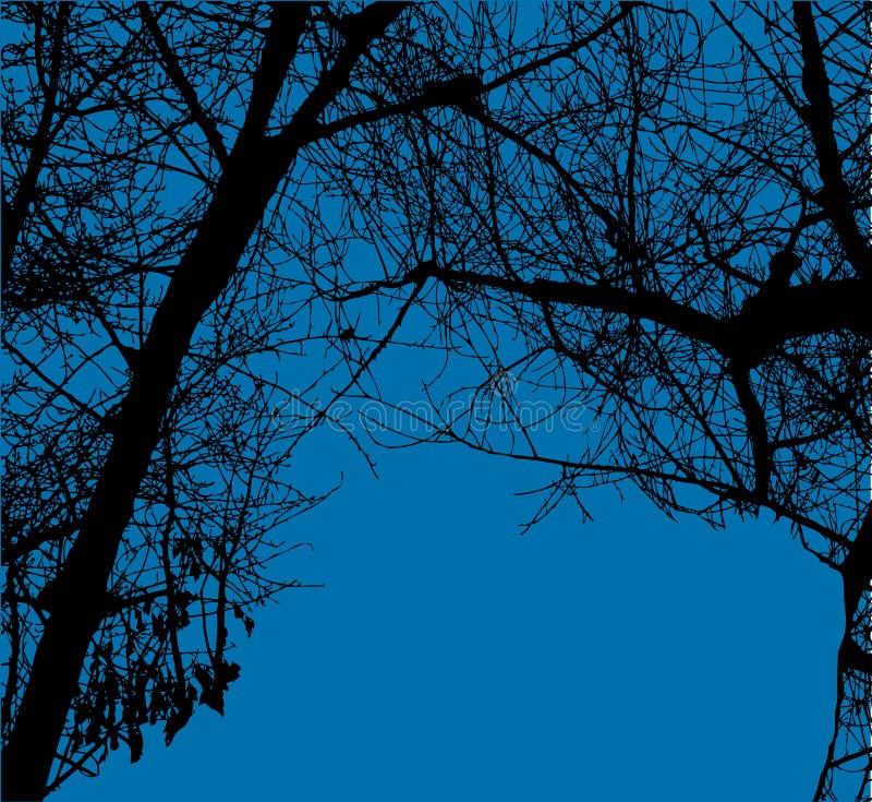 As árvores vector no céu azul ilustração do vetor