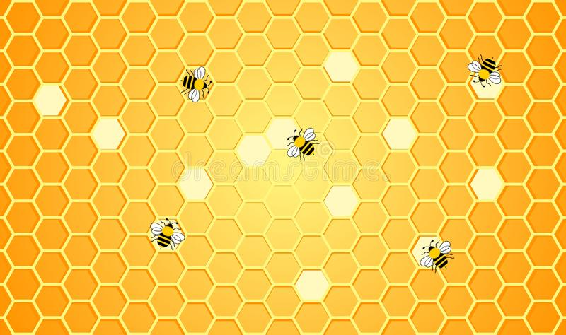 As abelhas estão trabalhando no fundo do projeto da ilustração do favo de mel ilustração royalty free