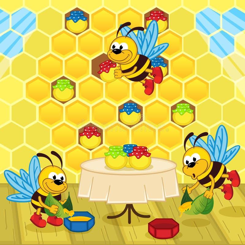 As abelhas fazem o mel na colmeia ilustração do vetor