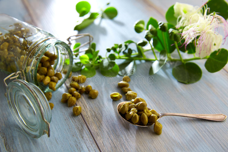 As alcaparras conservadas com planta e planta da alcaparra florescem fotos de stock