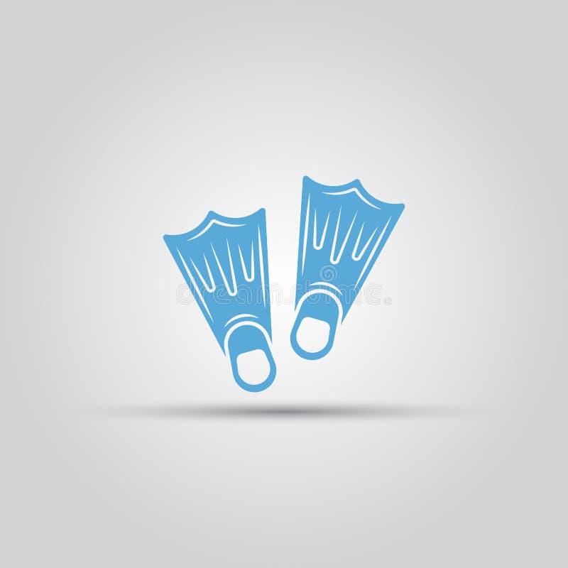 As aletas isoladas vector o ícone azul ilustração royalty free