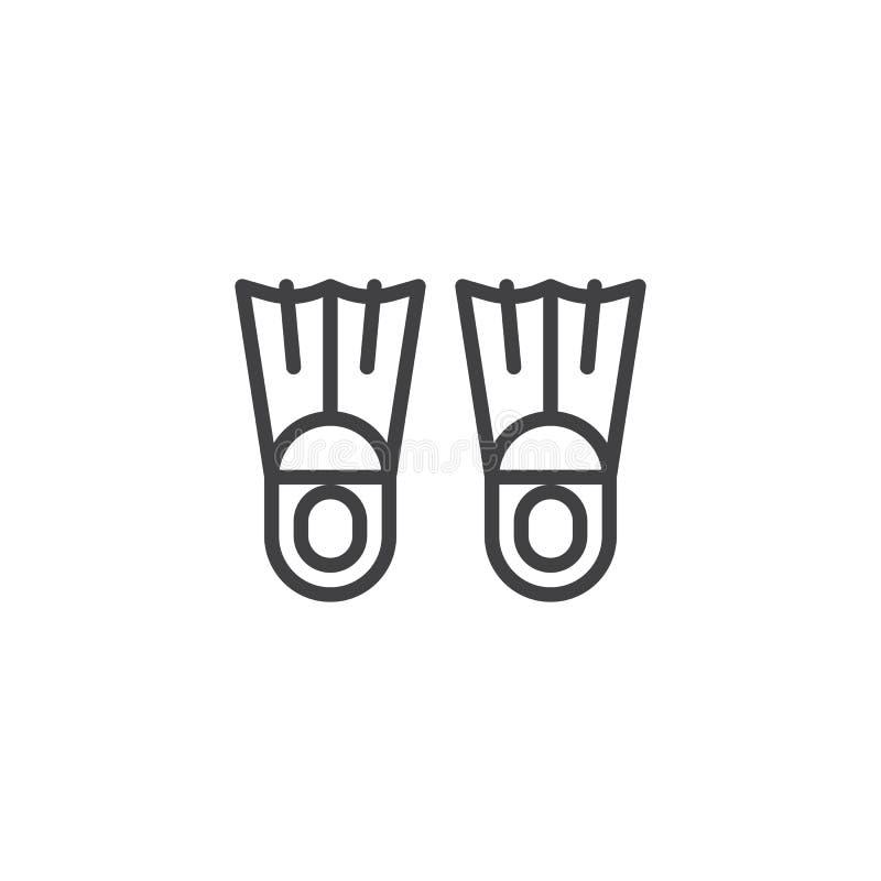 As aletas nadadoras alinham o ícone ilustração royalty free