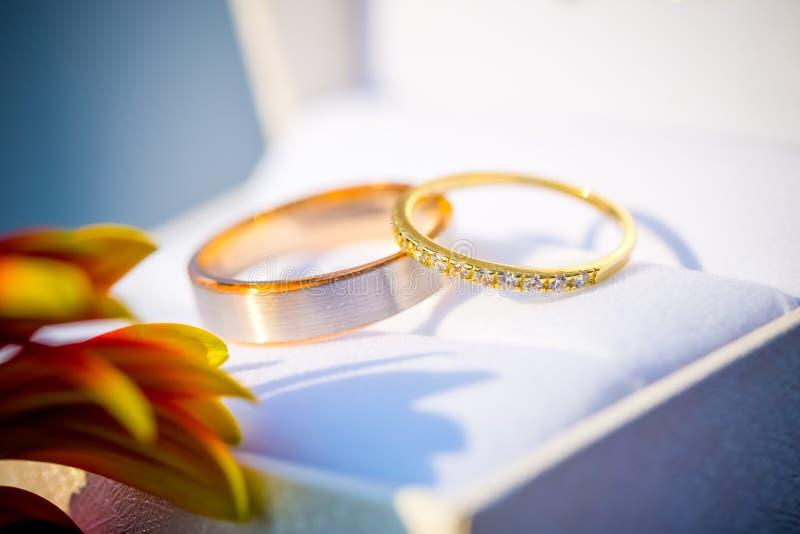 As alianças de casamento detalham na caixa branca imagens de stock royalty free