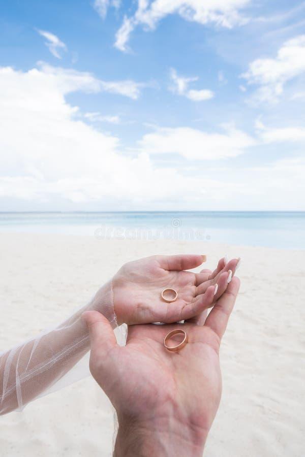 As alianças de casamento encontram-se nas palmas dos recém-casados No fundo são a areia e o oceano imagem de stock