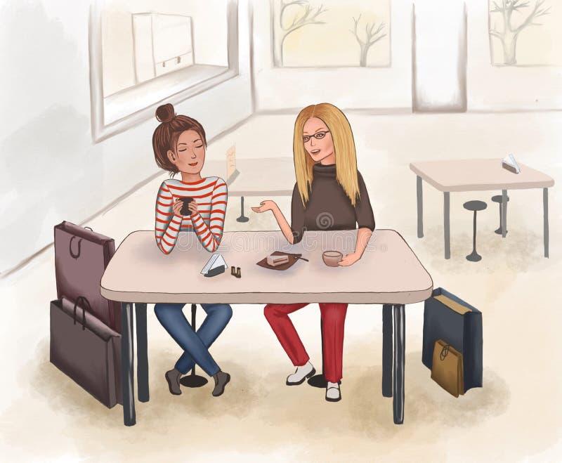 As amigas bebem o café após a compra em uma cafetaria ilustração royalty free