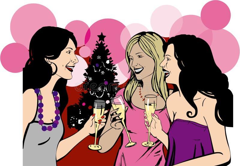 As amigas comemoram a festa de Natal imagens de stock