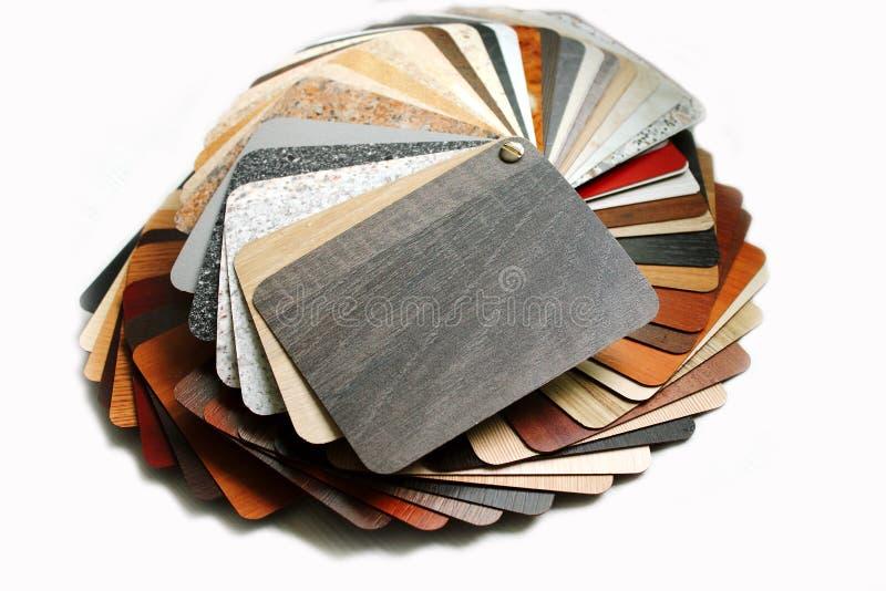 As amostras de folha da cor laminaram o cartão fotografia de stock royalty free