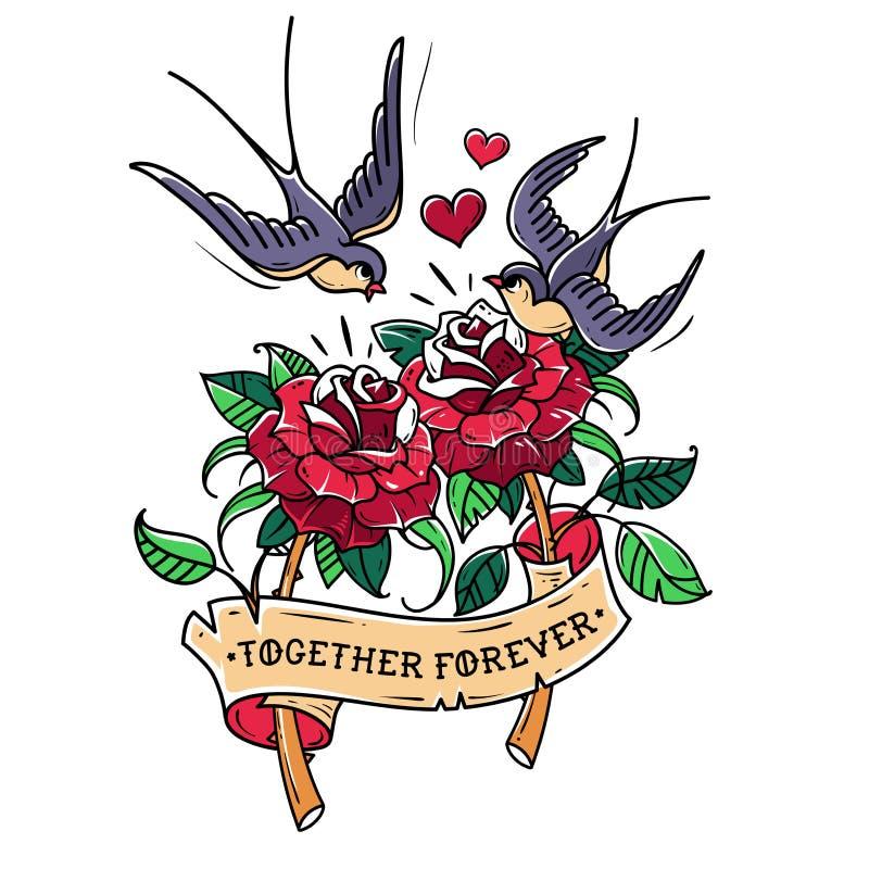 As andorinhas da tatuagem voam sobre duas rosas Amor para sempre ilustração do vetor