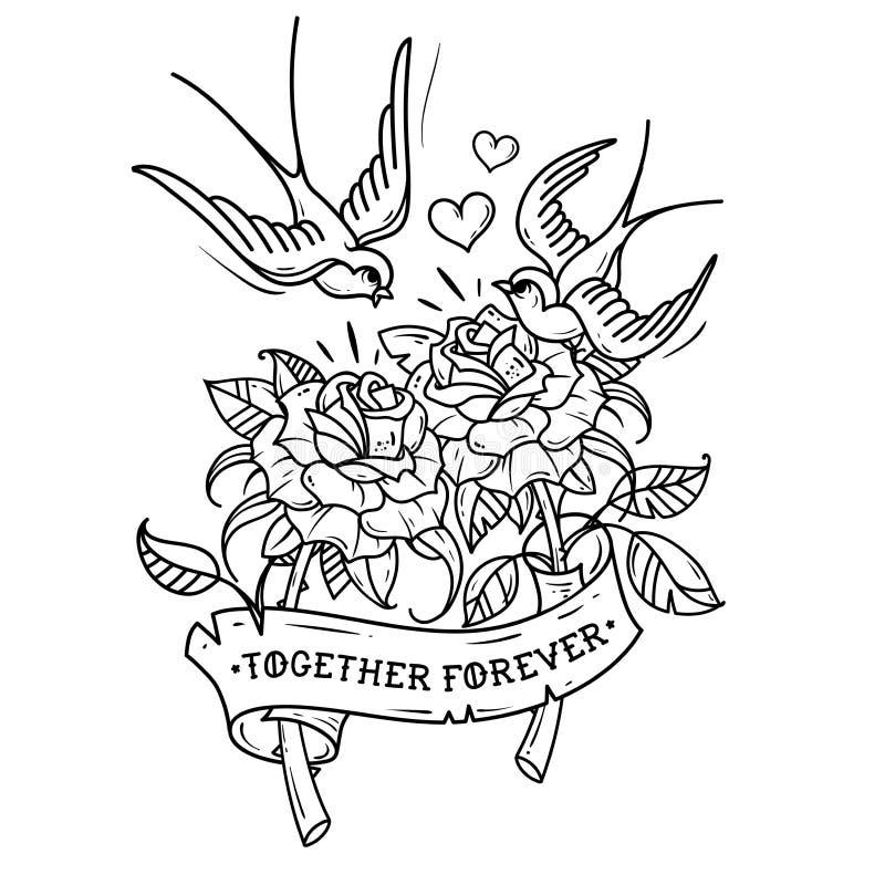 As andorinhas da tatuagem voam sobre duas rosas Amor para sempre Ilustração preto e branco ilustração stock