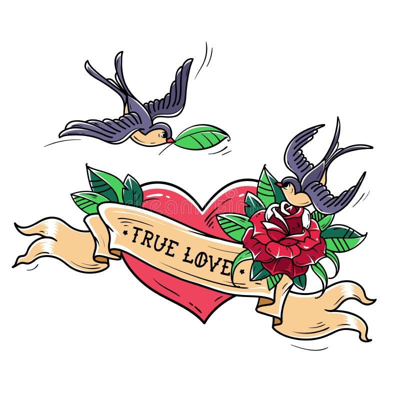 As andorinhas da tatuagem voam sobre o coração vermelho e aumentaram Conceito verdadeiro do amor Símbolo do amor mútuo, felicidad ilustração do vetor