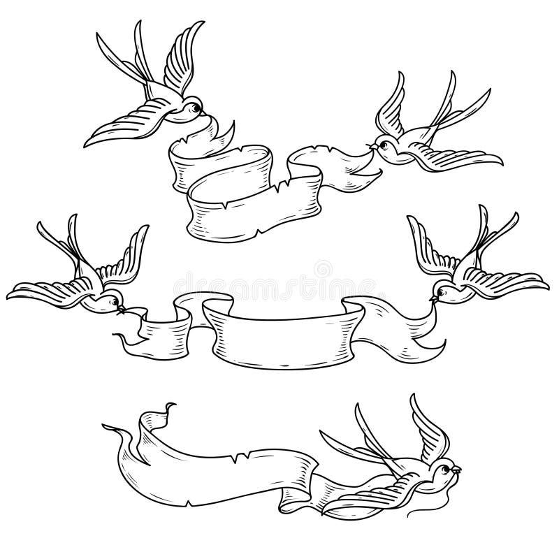 As andorinhas levam a fita Fita do vintage para o projeto Ilustração preto e branco ilustração do vetor