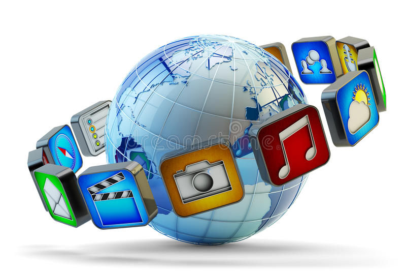 As aplicações dos multimédios em linha armazenam, conceito do mercado de software ilustração do vetor