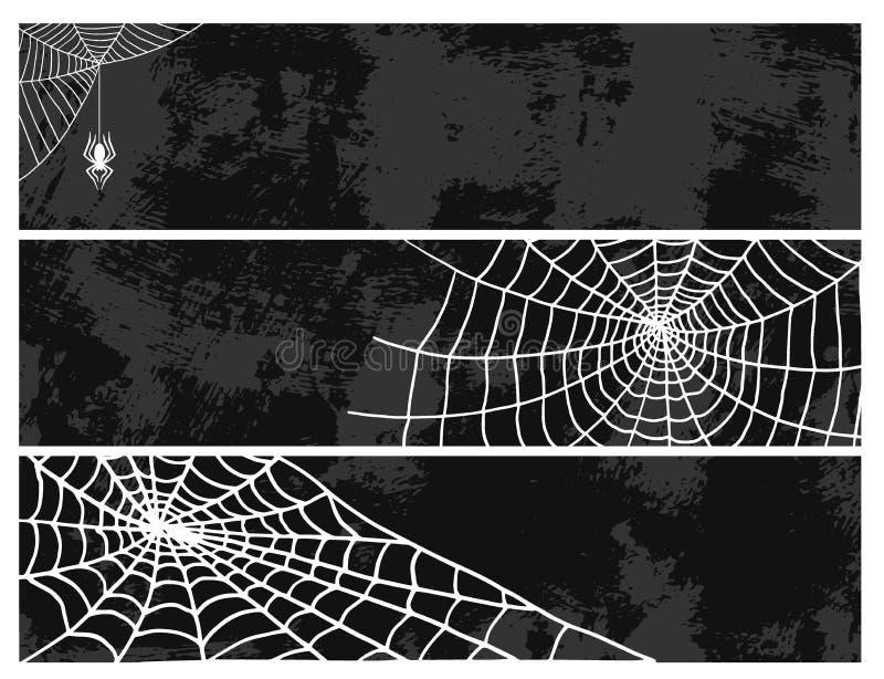 As aranhas cardam do medo assustador da decoração da teia de aranha do vetor do elemento do Dia das Bruxas da natureza da silhuet ilustração stock