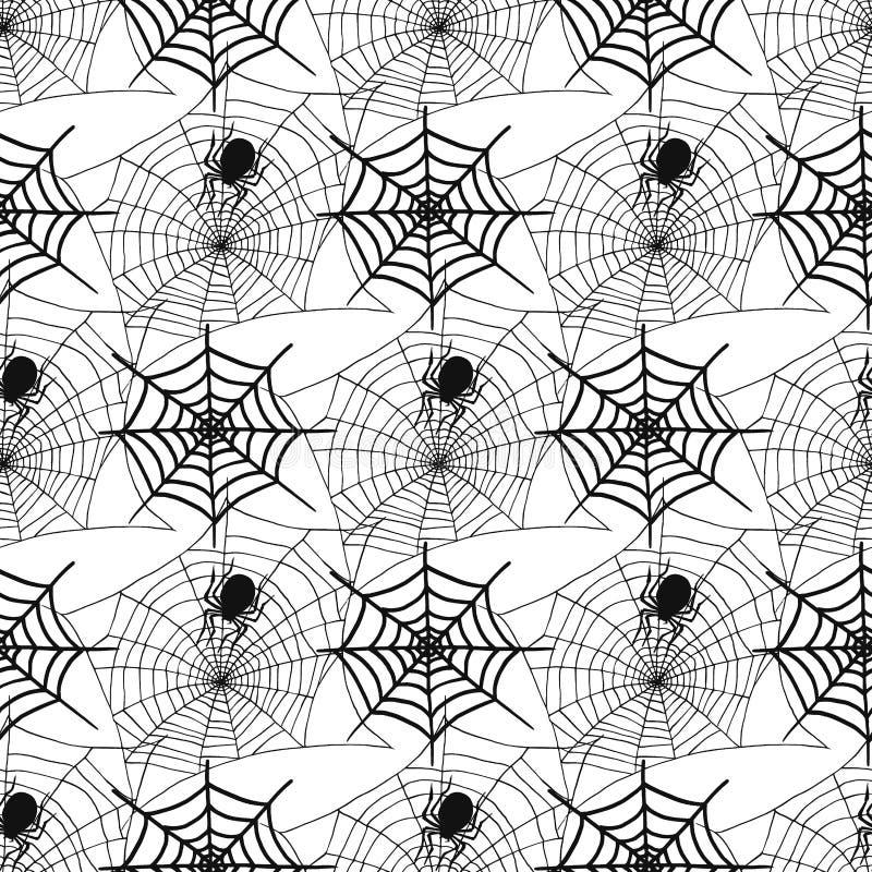 As aranhas e a Web de aranha mostram em silhueta o fundo sem emenda assustador do teste padrão ilustração stock