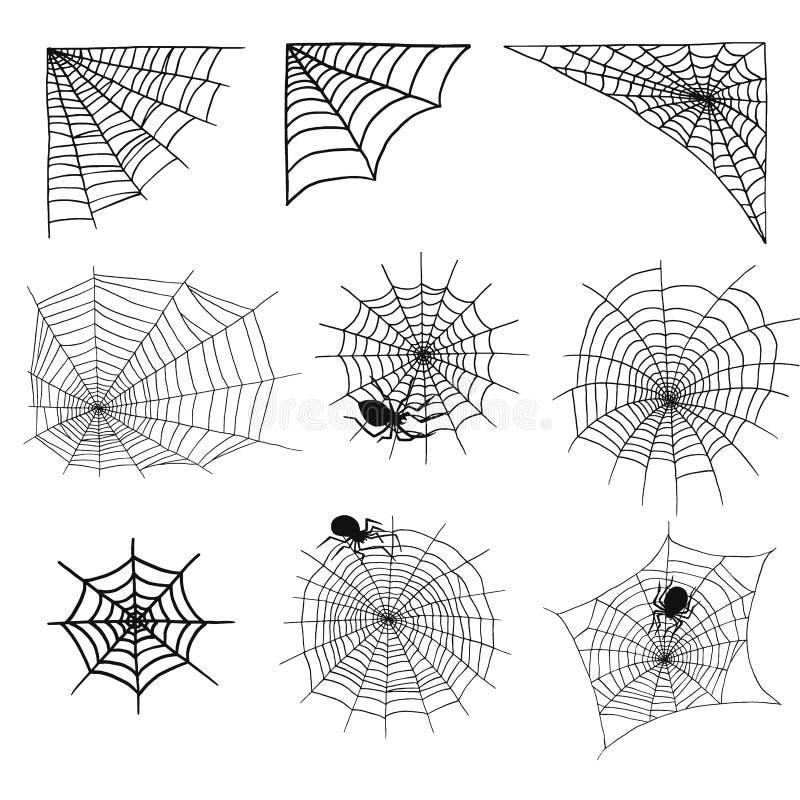 As aranhas e a Web de aranha mostram em silhueta a rede assustador do medo assustador da decoração da teia de aranha do vetor do  ilustração royalty free