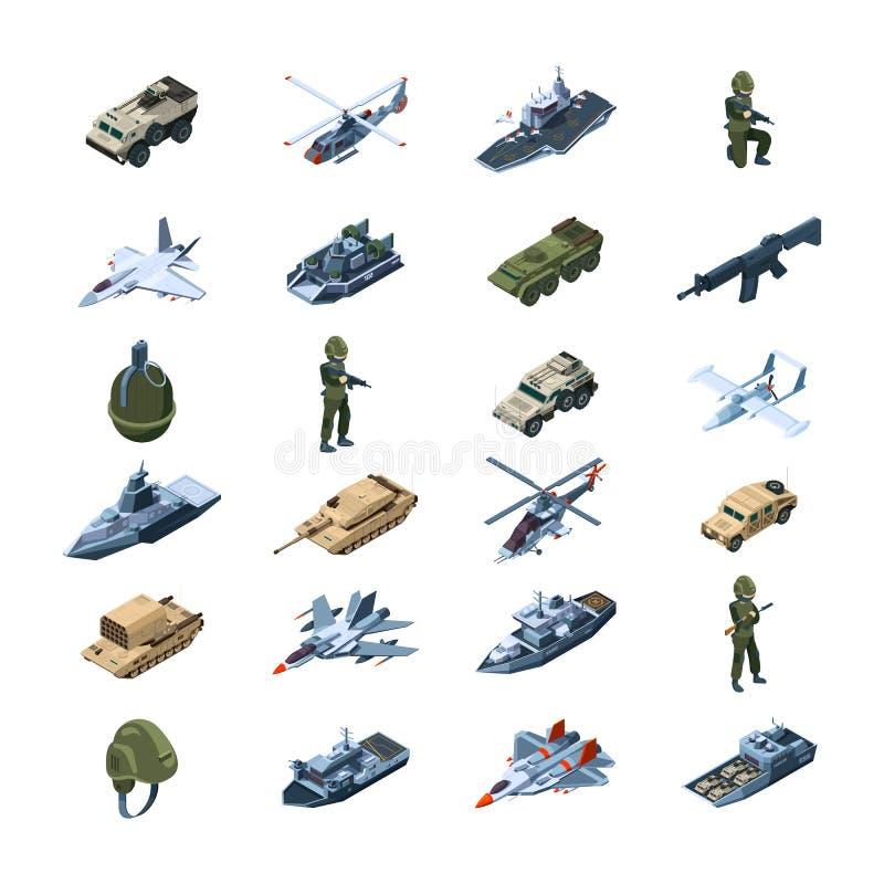 As for?as armadas transportam Vetor uniforme das ferramentas da segurança das granadas dos tanques das armas das armas da armadur ilustração do vetor