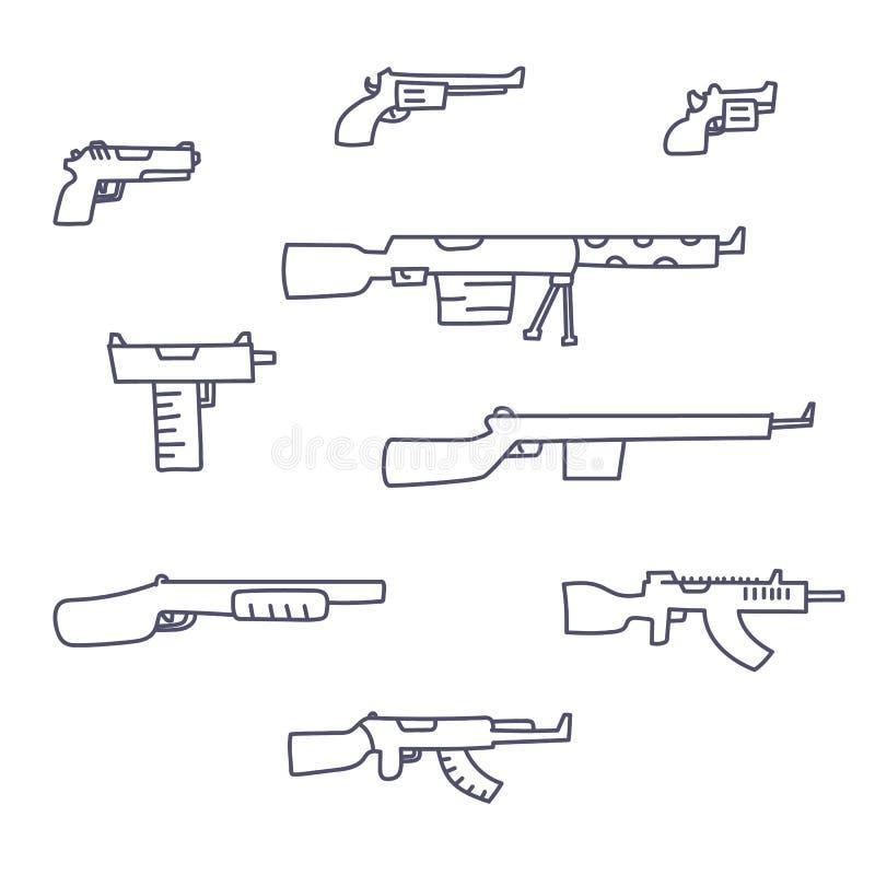 As armas entregam a grupo tirado do vetor o estilo criançola da garatuja ilustração do vetor