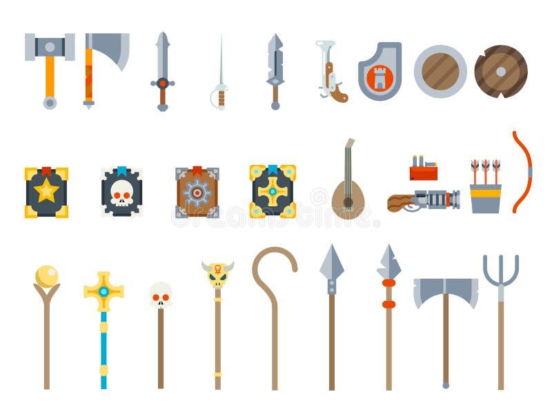 As armas medievais do jogo ajustaram a ilustração lisa do vetor do projeto dos ícones do vetor do RPG da fantasia ilustração stock