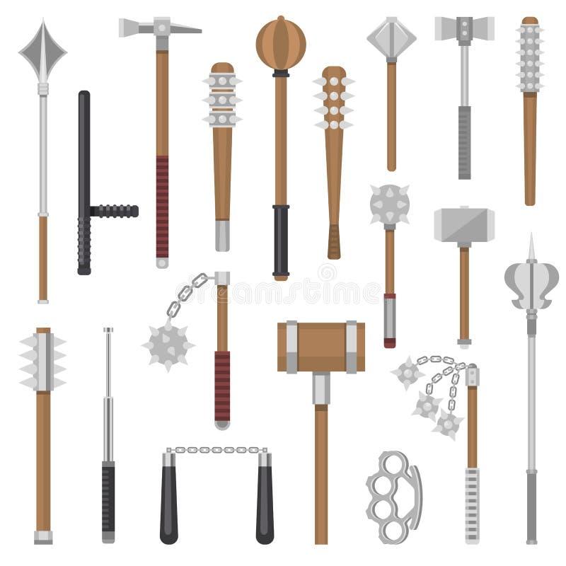 As armas medievais vector o grupo antigo do armamento da ilustração do martelo do guerreiro da proteção e do metal da antiguidade ilustração stock