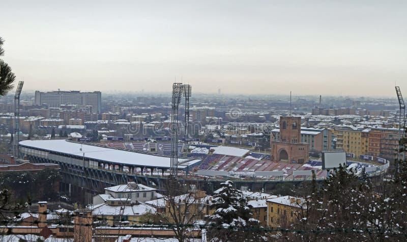 As aros de Stadio Renato Dall 'são um estádio de múltiplos propósitos na Bolonha imagem de stock