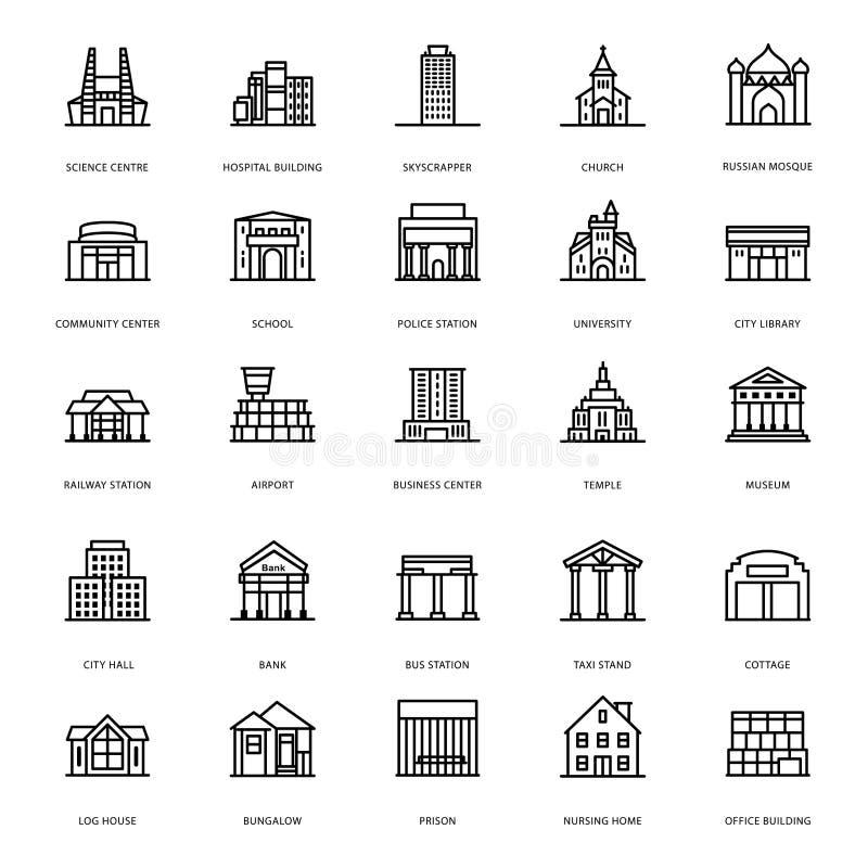 As arquiteturas de constru??o alinham ?cones ilustração do vetor