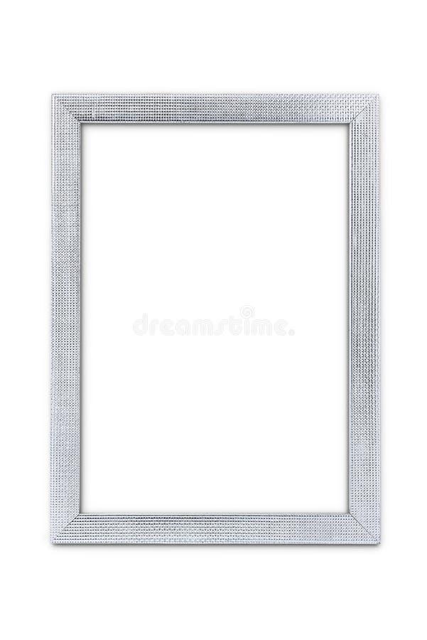 As artes de prata modelam a moldura para retrato isolada no branco com trajeto de grampeamento imagens de stock