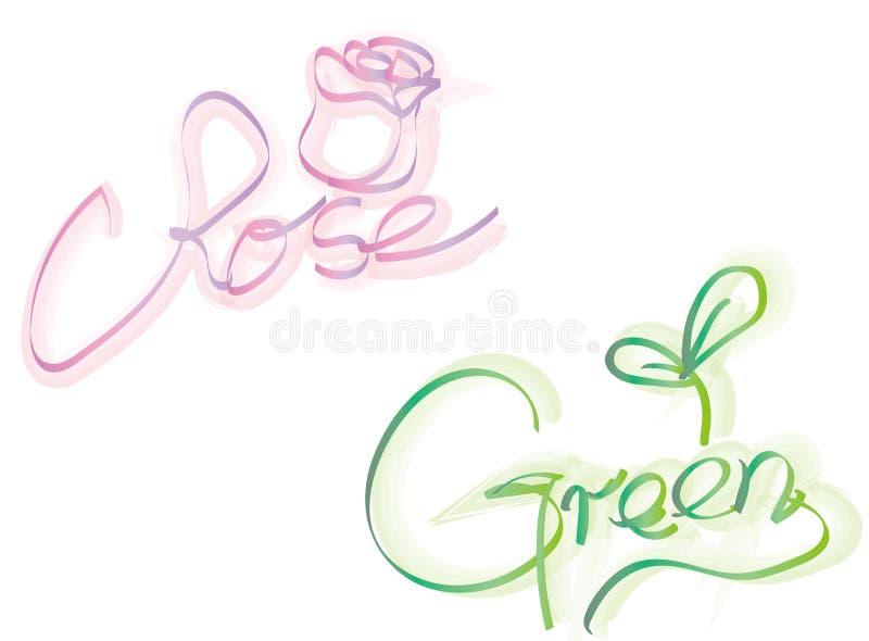 As artes finalas do VERDE E da ROSA são uso para o logotipo, signage ou ícone ilustração do vetor