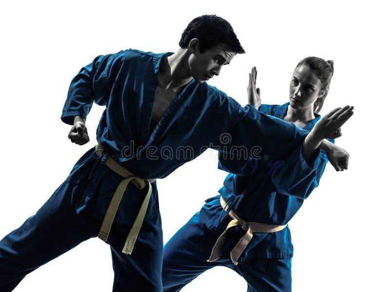As artes marciais do vietvodao do karaté equipam a silhueta da mulher imagem de stock royalty free