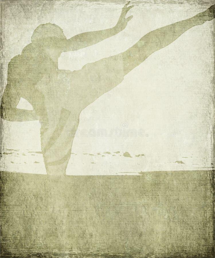 As artes marciais mostram em silhueta no fundo cinzento do grunge imagens de stock royalty free