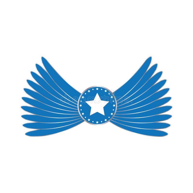 As asas azuis simbolizam com protagonizam no círculo Asas do anjo com vetor eps10 da estrela ilustração royalty free