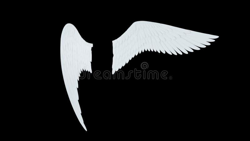 As asas brancas do anjo isoladas em um fundo preto 3D rendem ilustração stock