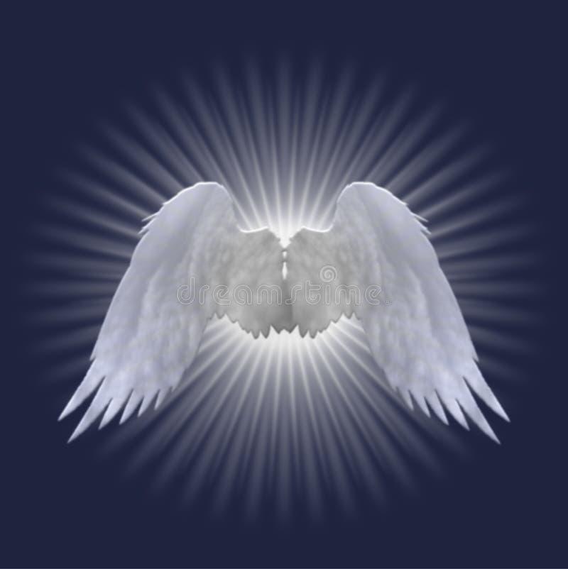 As asas brancas do anjo projetam em escuro - fundo azul ilustração do vetor