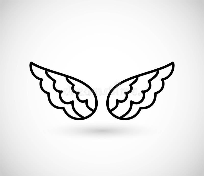 As asas diluem a linha vetor do ícone ilustração stock