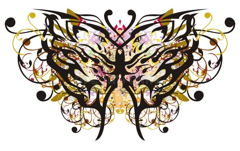 As asas florais da borboleta com cabeças dos leões modelam para dentro ilustração do vetor