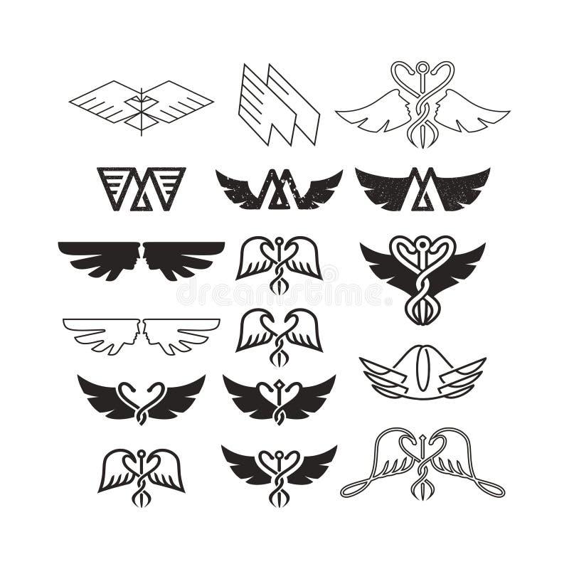 As asas vector o jogo Coleção do ícone da asa com estilo do logotipo do vintage ilustração do vetor
