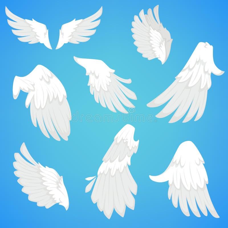 As asas vector os ícones brancos da pena de pássaro ilustração royalty free