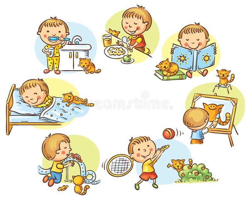 As atividades diárias do rapaz pequeno ilustração royalty free