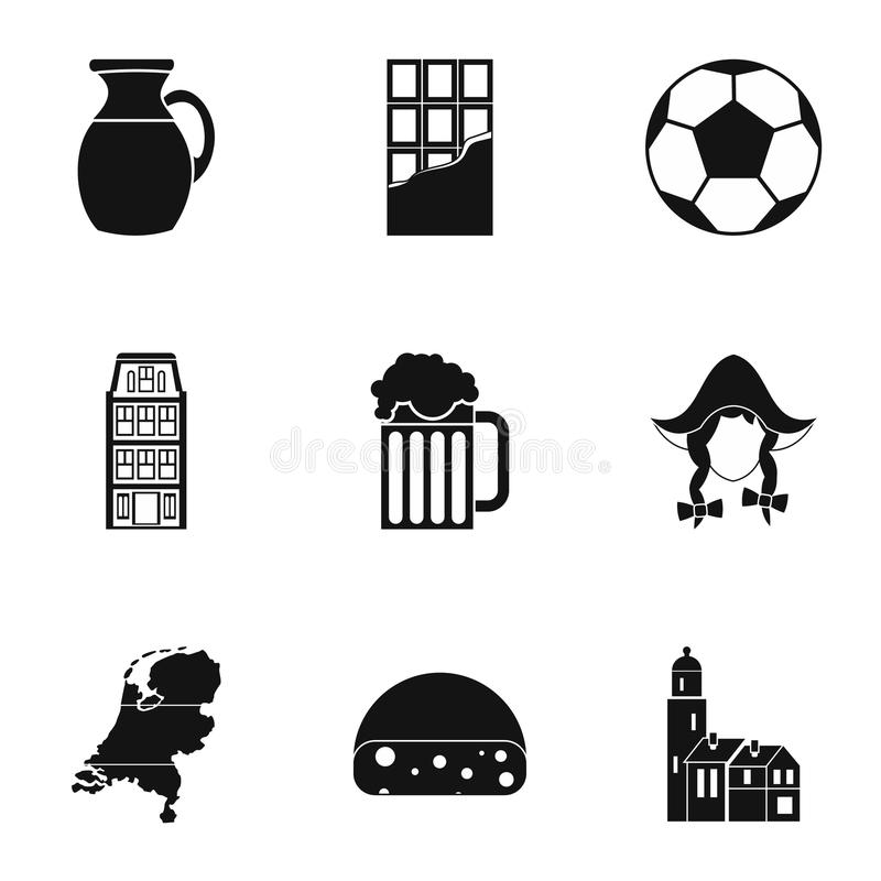As atrações de ícones da Holanda ajustaram-se, estilo simples ilustração stock