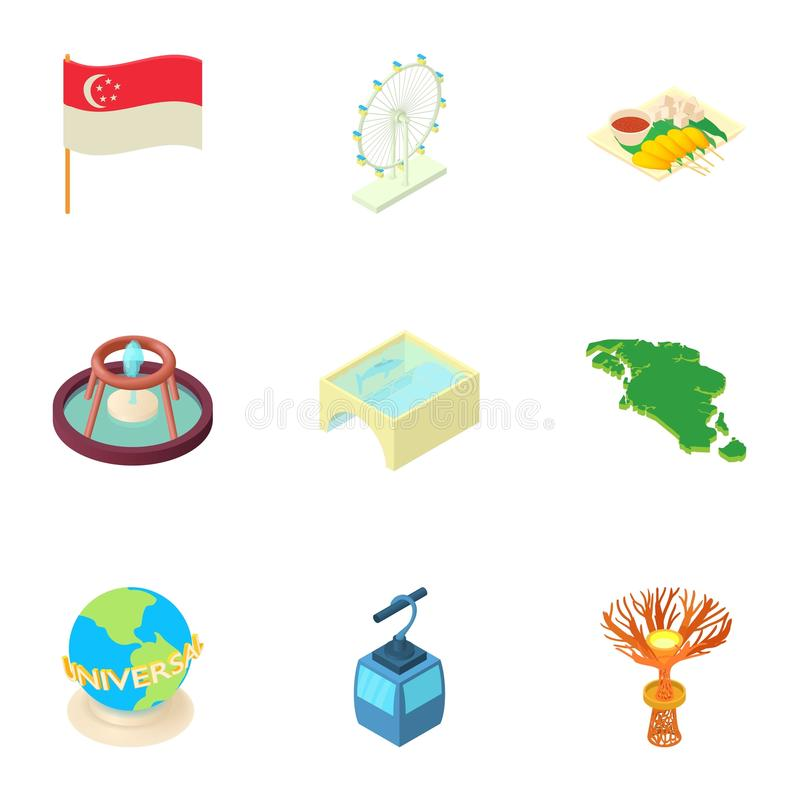 As atrações de ícones de Singapura ajustaram-se, estilo dos desenhos animados ilustração stock