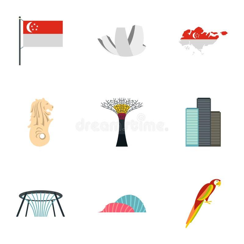 As atrações de ícones de Singapura ajustaram-se, estilo liso ilustração royalty free