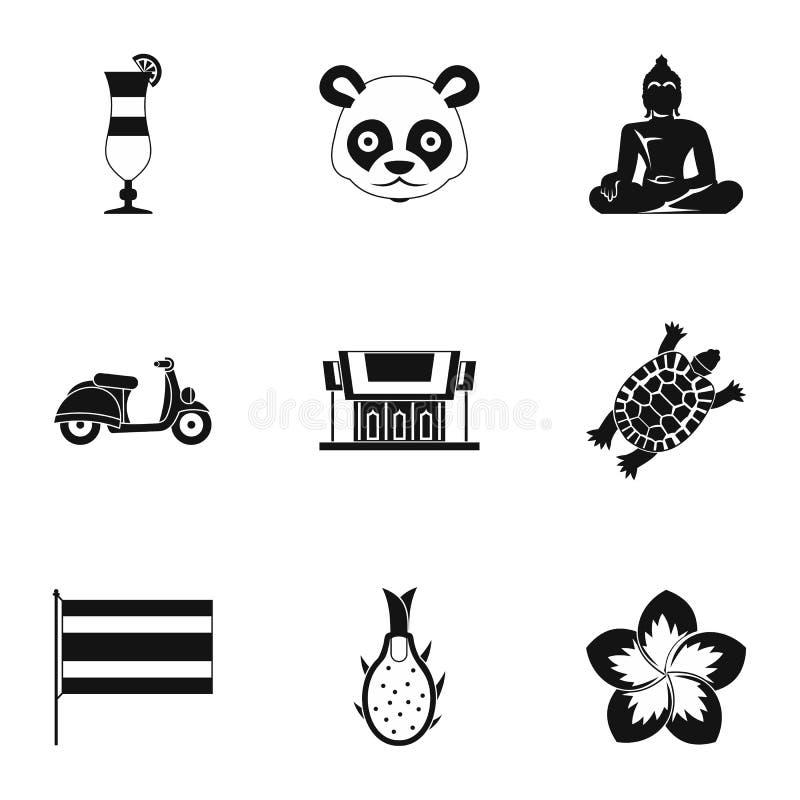 As atrações de ícones de Tailândia ajustaram-se, estilo simples ilustração royalty free