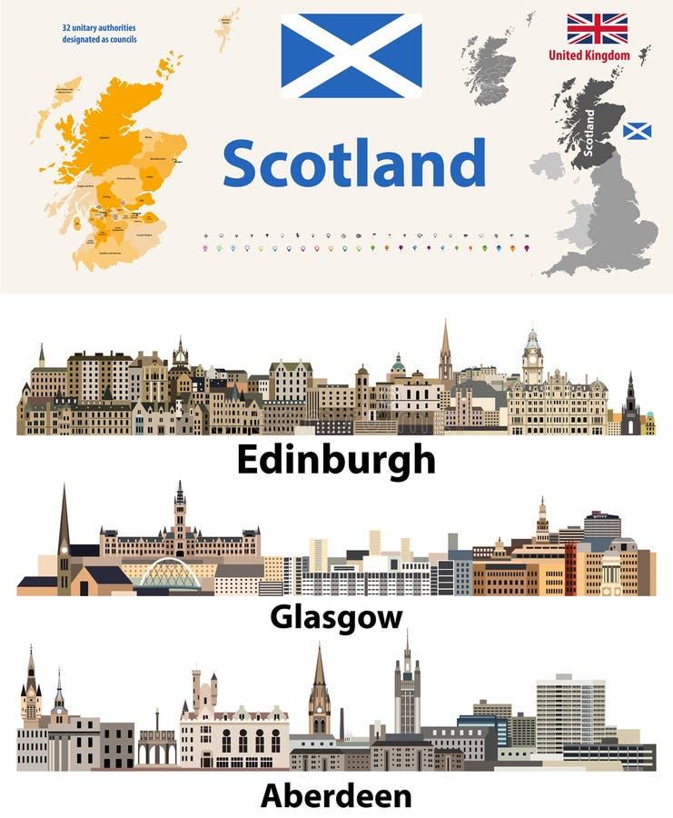 As autoridades unitárias das subdivisões de Escócia traçam e skylines escocesas das cidades as maiores Todos os elementos separad ilustração stock