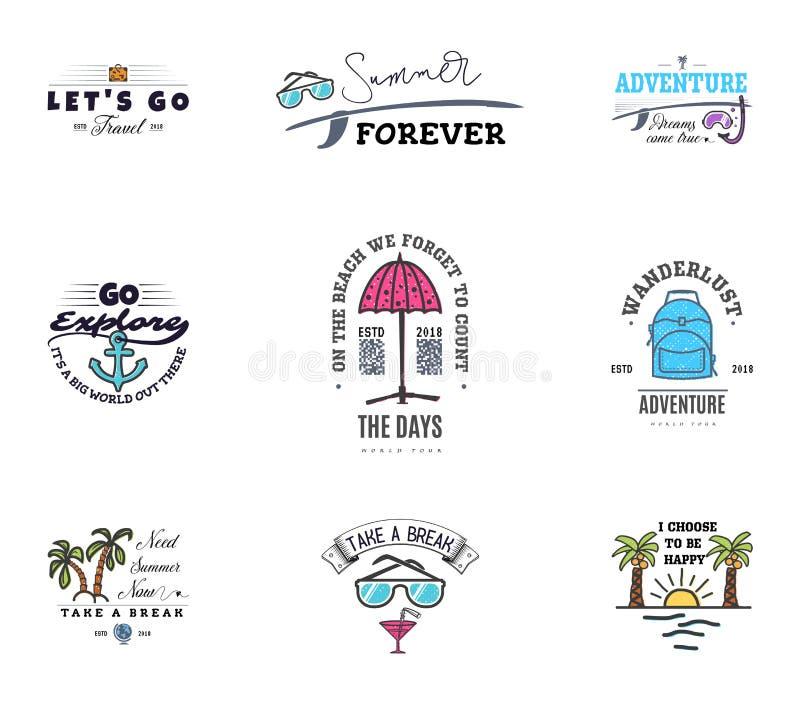 As aventuras começam nas férias, moldes da bandeira, para redes sociais com as citações para relaxar na praia e no mar ilustração do vetor