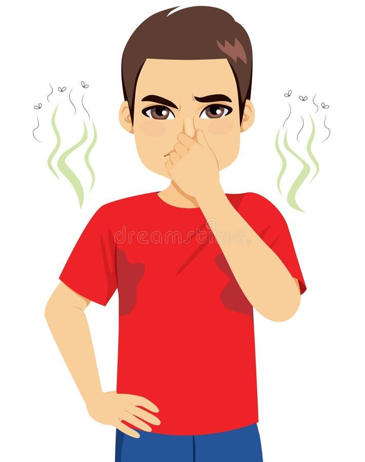 As axila más do sentimento do homem cheiram ilustração do vetor